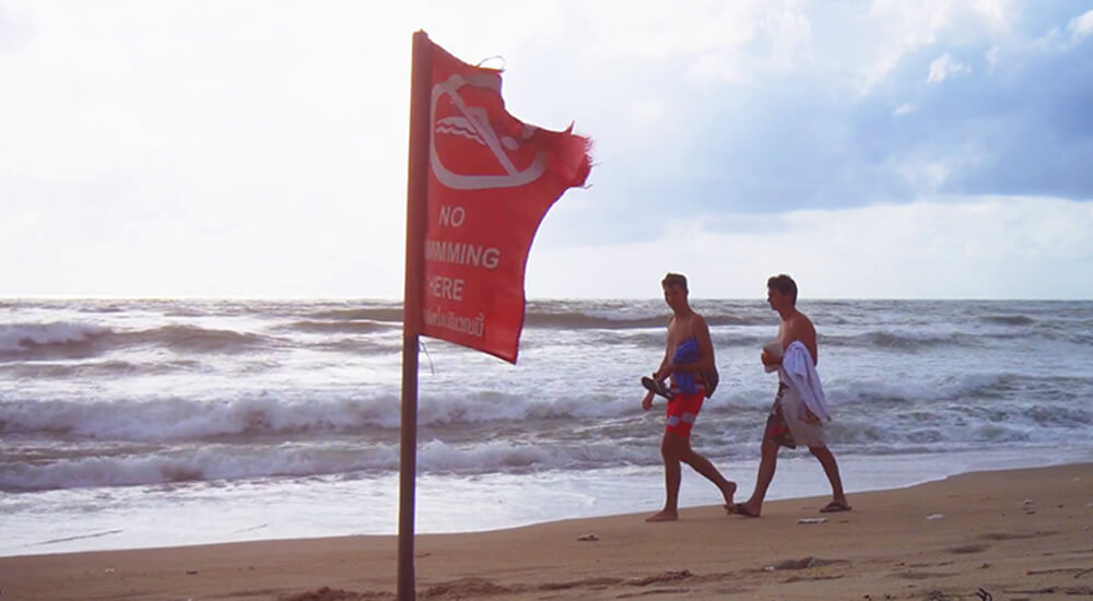 Phuket Beach Red Flag