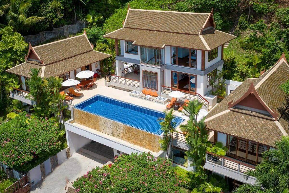 4 Bedroom Sea View Thai Pavilion Style Pool Villa for Sale at Ayara Hilltops near Surin Beach, Phuket