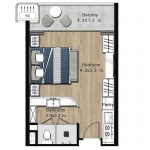 Studio Resort Condo for Sale 50 Metres to Bang Tao Beachfront, Phuket Floorplan
