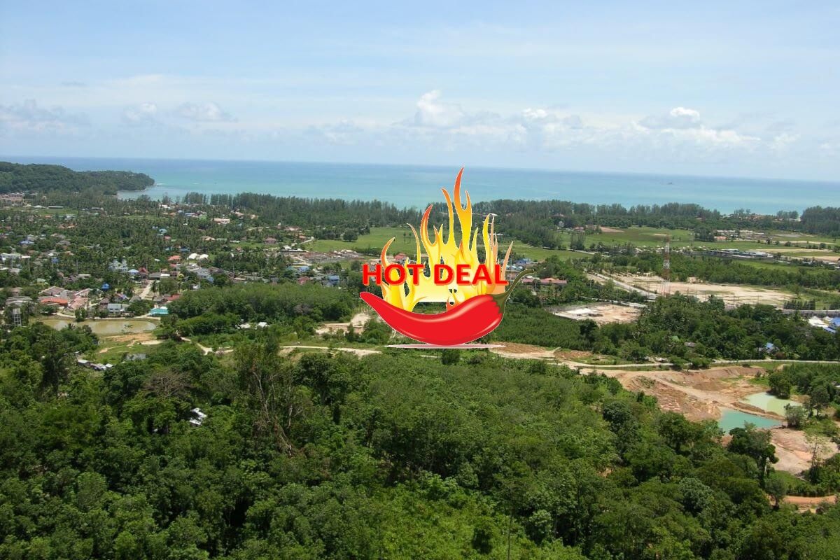 6 Rai 55 Square Wah (9,820 sqm) Land for Sale with Distant Sea Views in Cherng Talay, Phuket
