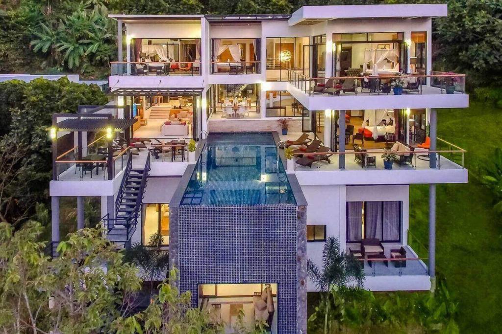 6 Bedroom Sea View Hillside Luxury Pool Villa near Surin Beach in Cherng Talay, Phuket